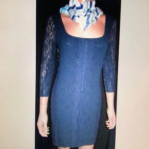 Victoria's Secret Blue Lace Long Slv Dress S NEW!